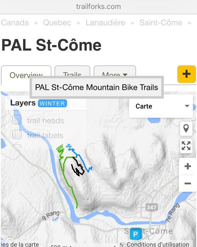trailforks.com - Vélo de montagne Plein Air Lanaudière